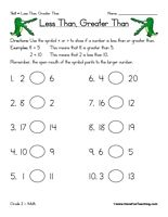 "Printable ""Crocodile math"" worksheets. (Less than, greater than.)"