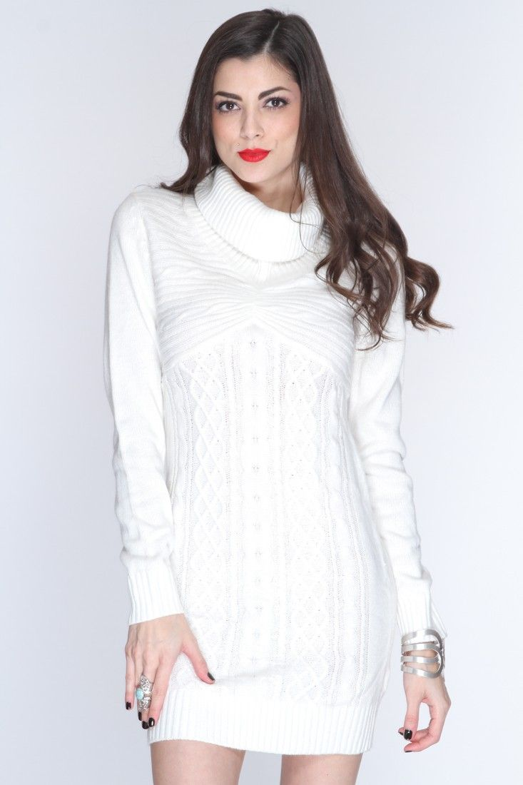 White Cowl Neck Sweater Dress - Gown And Dress Gallery