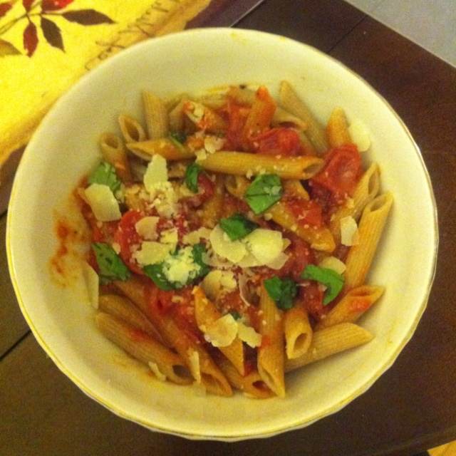 Whole wheat penne with homemade cherry tomato and basil sauce and ...