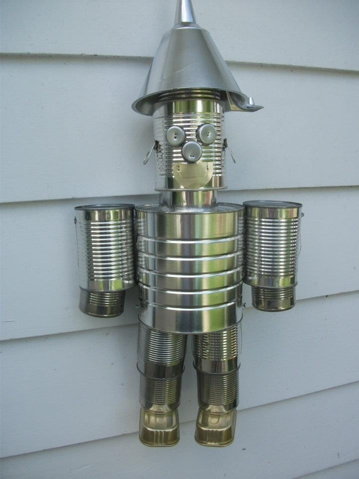 Screws wire empty tin cans a tin man grands pinterest for Tin man out of cans