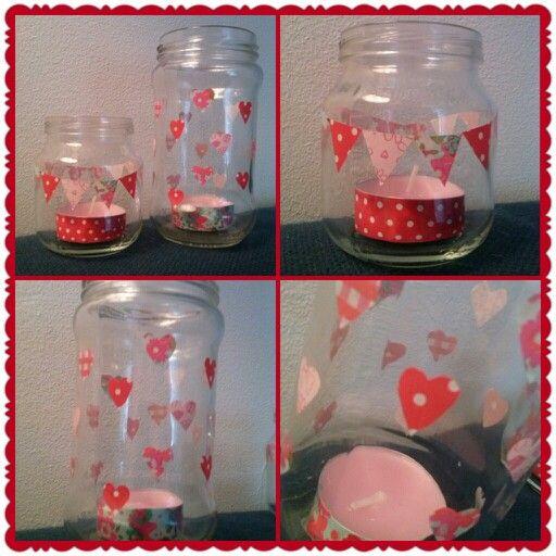 Glazen potjes gepimpt met washi tape. Leuk om kado te geven met een kaarsje of snoepjes!