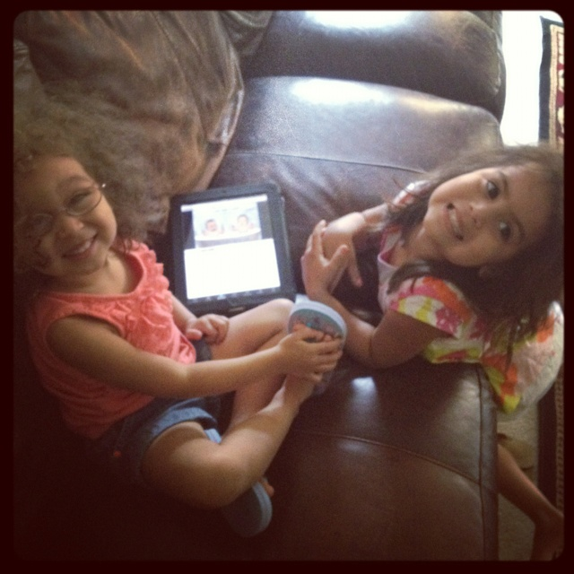 """I turn around and find them watching""""Tootin Bathtub Cousins"""" on the iPad. Wha?!? (YouTube it!)"""