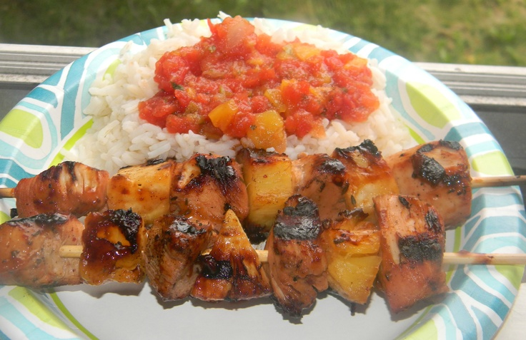 Chicken & Pineapple kabobs marinated in Caribbean jerk and served with ...