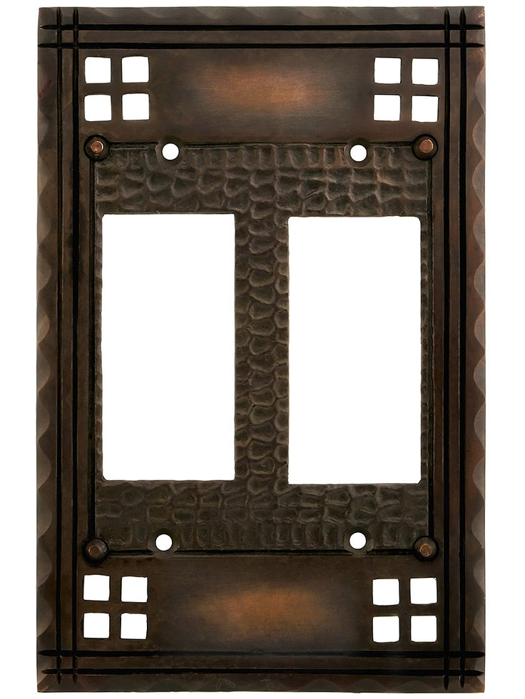 Arts and crafts double gfi outlet cover plate in oil for Arts and crafts outlet covers