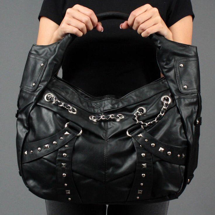 Black Studded Chain Motorcycle Punk Slouch Hobo Bag Handbag