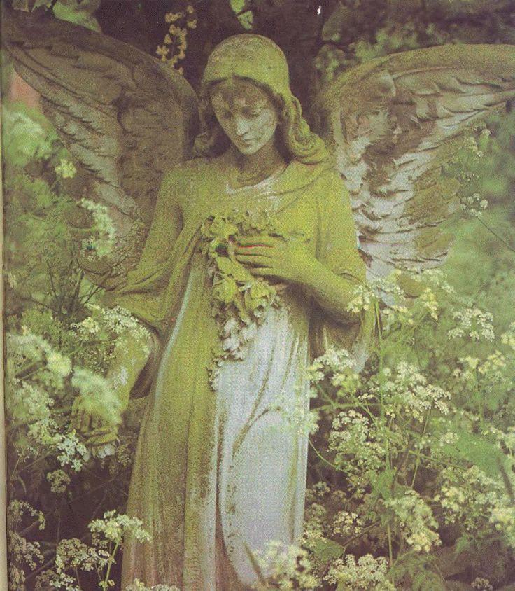 Garden angel covered with moss sculptures statues pinterest - Angel statue for garden ...