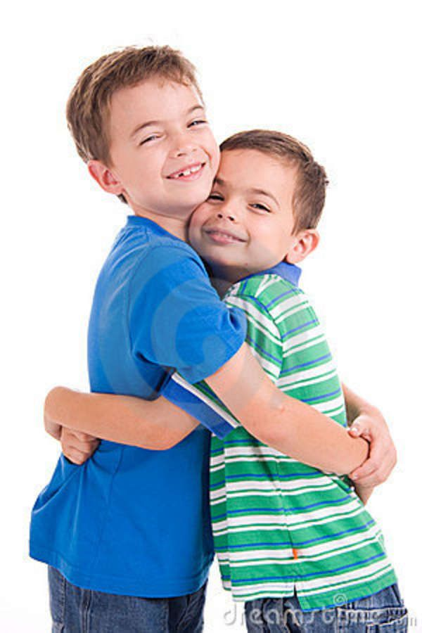 Kids hugging pictures