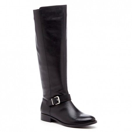 Women's Black Leather 1 Inch Leather Knee-high Boot | Shineh by Sole Society