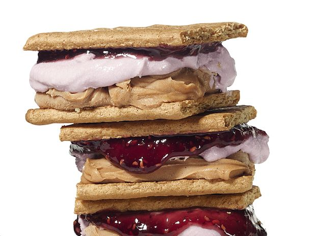 Peanut butter and jelly ice cream sandwich made with graham crackers ...