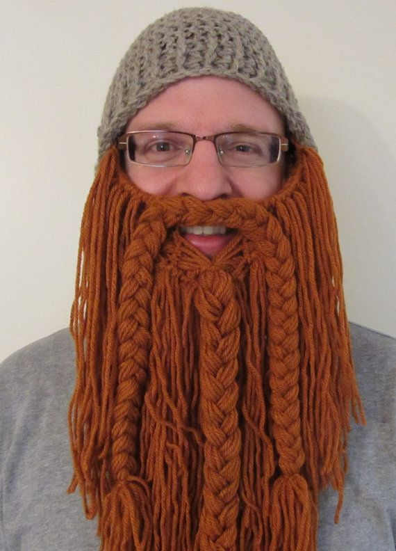 Crochet Hat With Long Beard Pattern : Long Manly Beard with Crocheted Hat - Button Adjustable ...