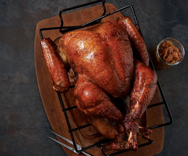 Grill-Roasted Turkey // Recipe: http://www.finecooking.com/recipes ...