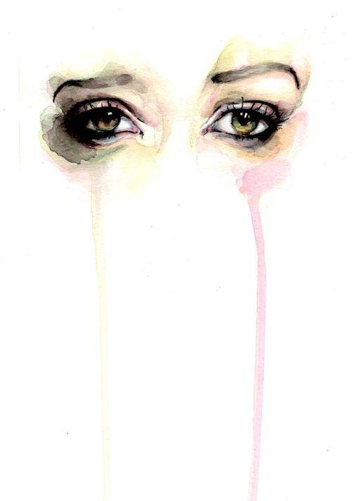 sad watercolor eyes