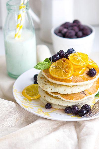 Blueberry Greek Yogurt Pancakes with Meyer Lemon Syrup | Recipe