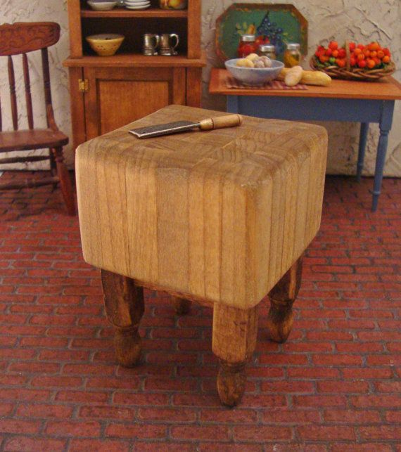 Custom listing for becky butcher block kitchen work table 1 12 scale miniature dollhouse furniture - Butcher block kitchen work table ...