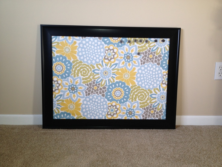 DIY magnet board. Buy a large frame (I used 24x18 poster board frame ...