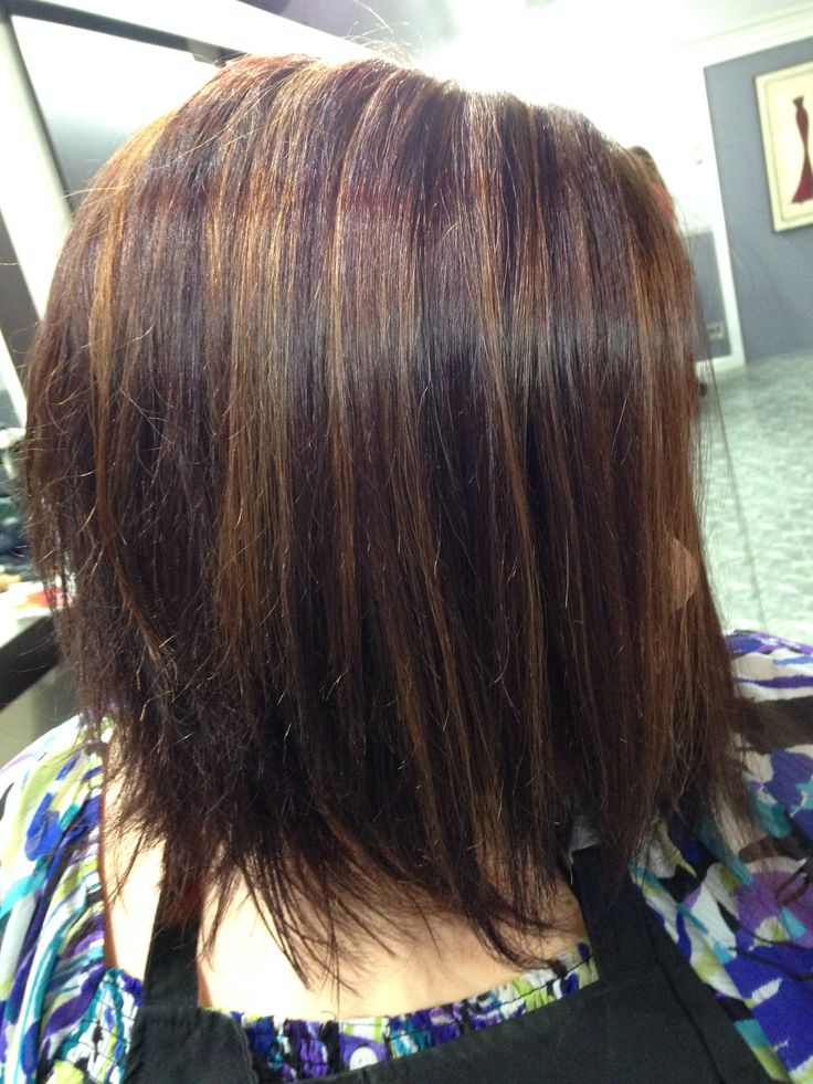 Red violet color, caramel highlights   Hair ;)   Pinterest