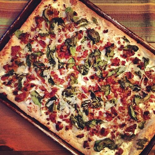 , ricotta, and spinach pizza. Used up the rest of my homemade ricotta ...