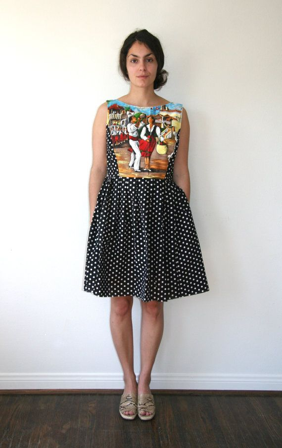 Hand Painted Novelty Dress Vintage 50s Style Sz L by rustycuts