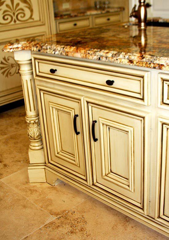 Yellow kitchen cabinets glazed for Glazed kitchen cabinets