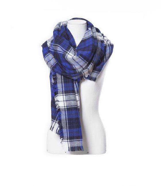 ZARA - WOMAN - CHECKED SCARF WITH FRINGES