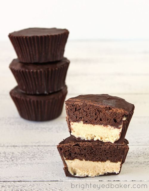 chocolate cake/peanut butter ice cream cupcakes. holy moses.