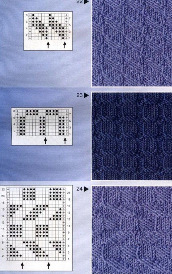 Вязание узоров из лицевыми и изнаночными 455