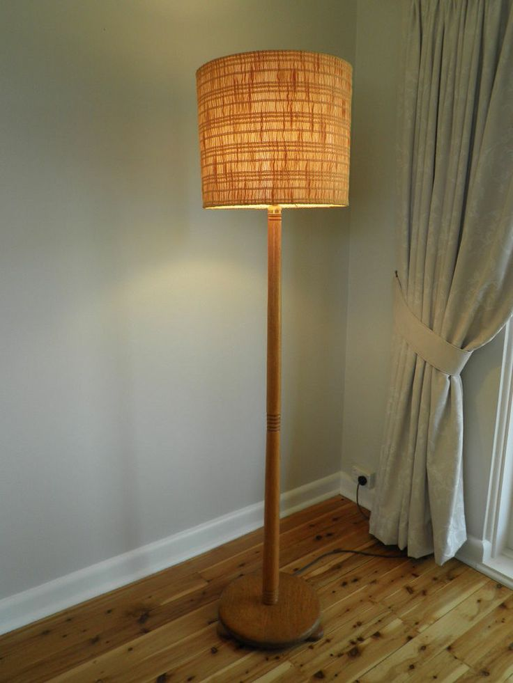 Retro floor lamp woven wool shade 1950s vintage made for Retro floor lamp sydney