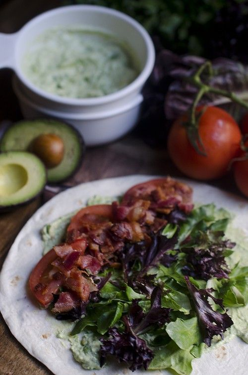 Bacon, Lettuce and Tomato Wrap with Easy Homemade Guacamole. By Divian ...