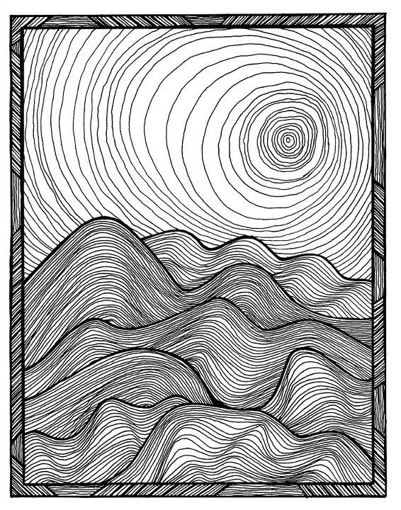Line Drawing Artists Examples : Rolling hills art ideas techniques source images for