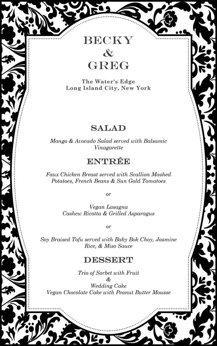 Wedding Gifts For Vegetarians : vegan wedding menu VeganMenu Vegan/vegetarian Wedding Pinterest