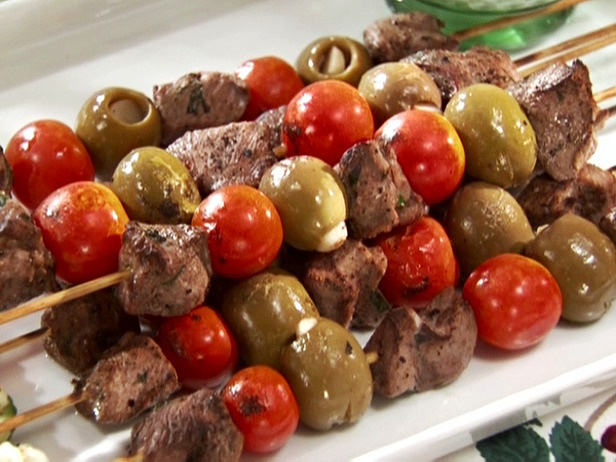 Lamb and Olive Skewers with Cucumber Salad Recipe : Sandra Lee ...