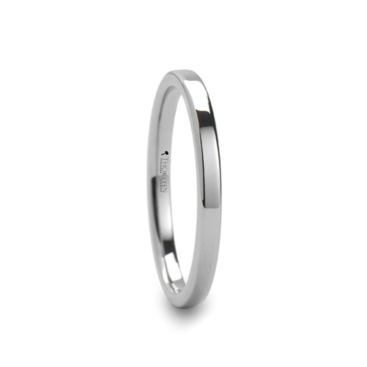 MARCEL 2mm wide Flat Style White Tungsten Ring for Women
