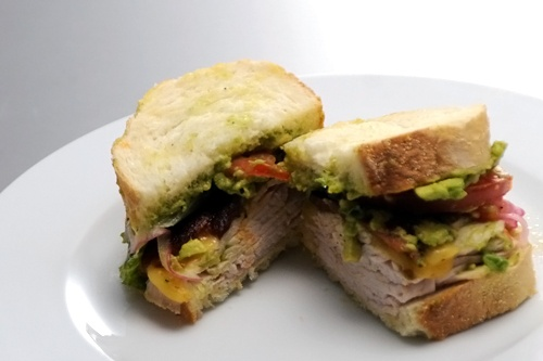 Oven-Roasted Turkey, Bacon & Avocado Sandwich with Pickled Onions ...