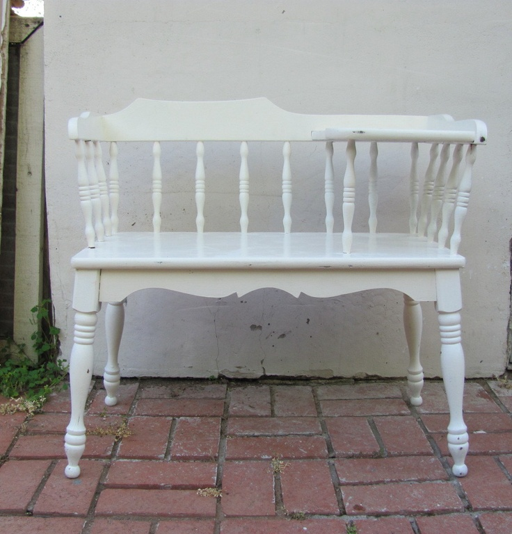 Vintage Telephone Bench White Turned Wood Shabby Chic
