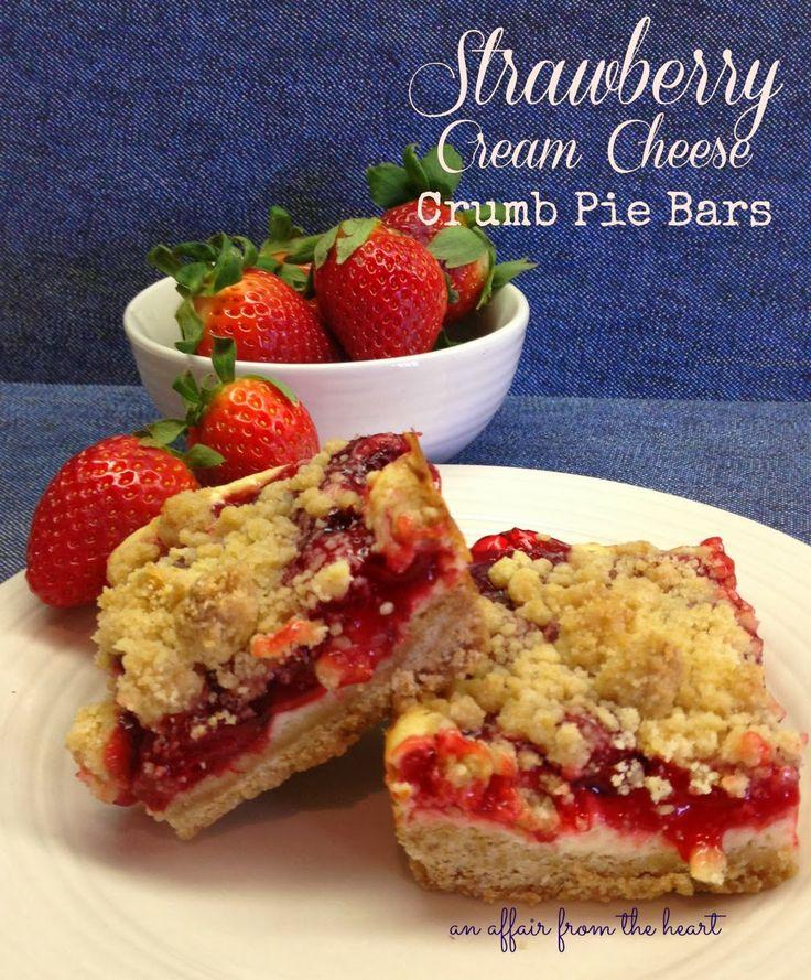 ... Strawberry Cream Cheese Crumb Pie Bars #pie #bars #strawberry #sour