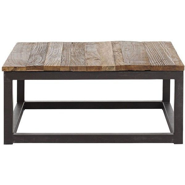 Center Distressed Wood Square Coffee Table 390 Found On Polyvore