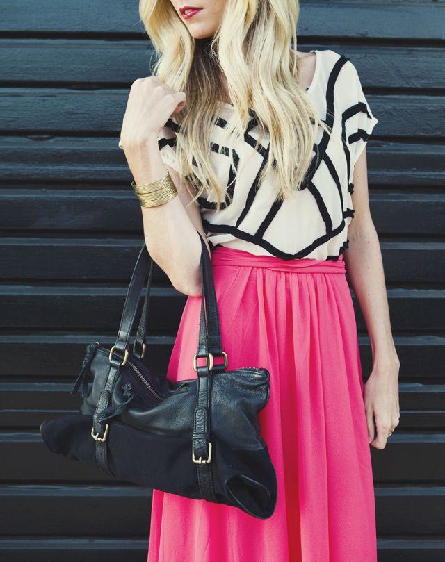 love pairing the fushia skirt and monochrome top