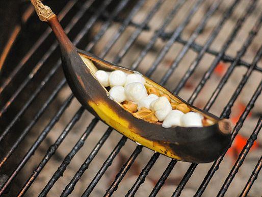 Banana Boats: stuff a banana with junk, grill, eat. Briliant. Via Serious Eats