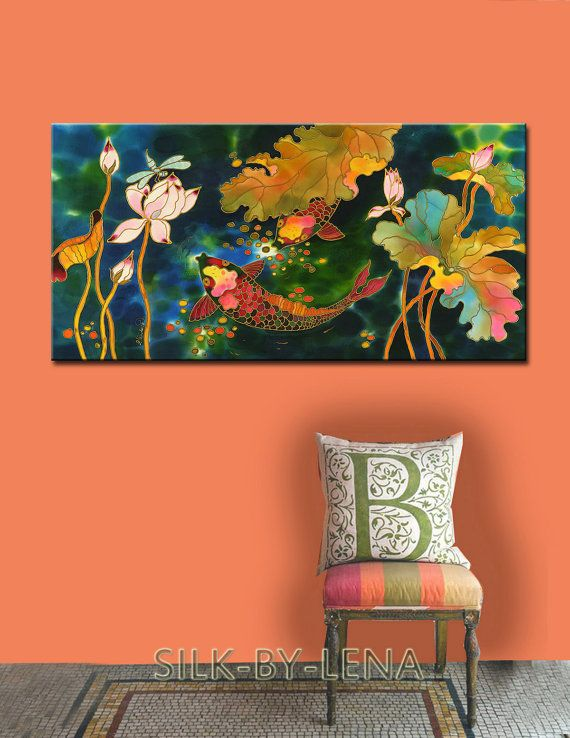 Painting As Wedding Gift : Painting Silk Painting Acrylic Painting Wedding Gift Fish Painting ...