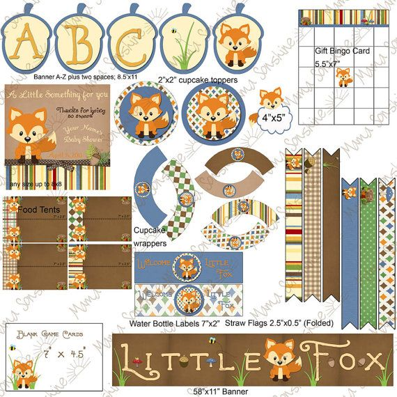 little fox baby shower printable decorations