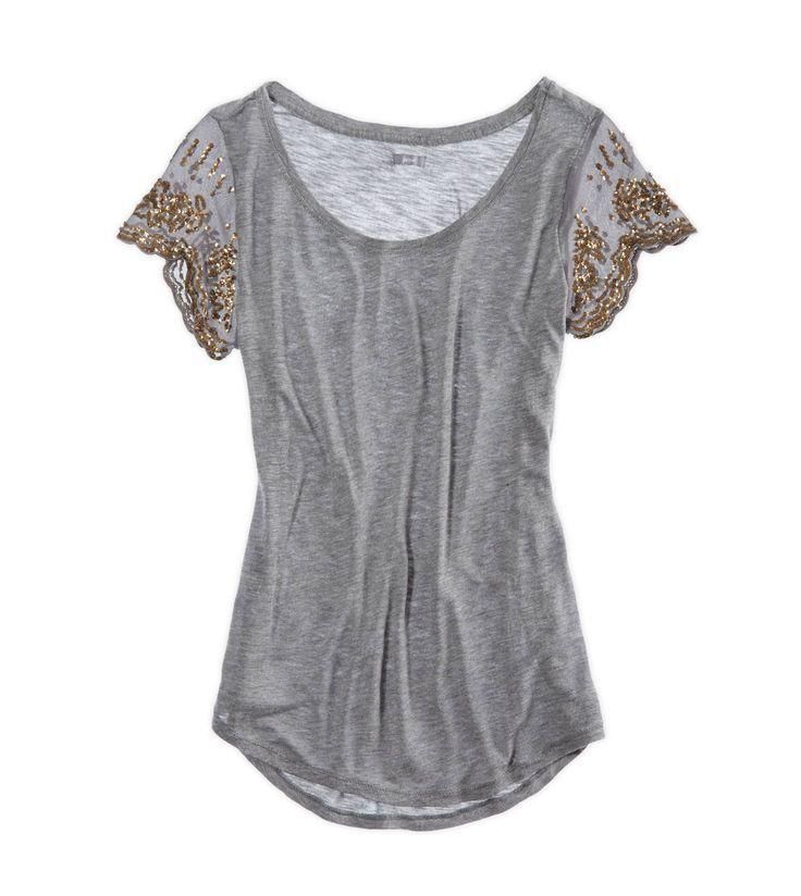 sequin sleeve t shirt girlie things pinterest. Black Bedroom Furniture Sets. Home Design Ideas