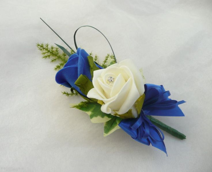 Grooms Double Rose Buttonhole Ivory Royal Blue Wedding Flowers