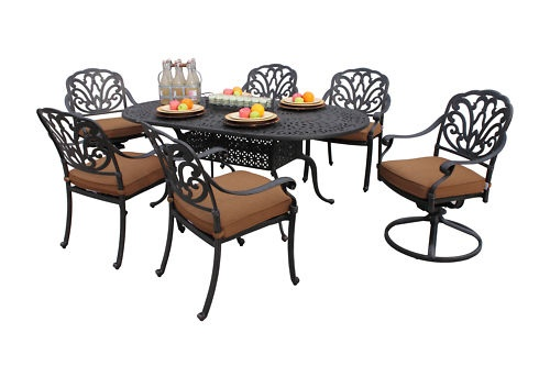 Outdoor 7 piece san marino patio furniture dining set