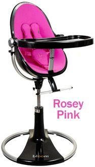 Bloom Fresco Loft High Chair Black Base Rosey Pink