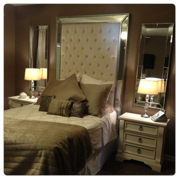 Queen Size Upholstered Headboard with Mirrors by NewAgainUph, $1100.00