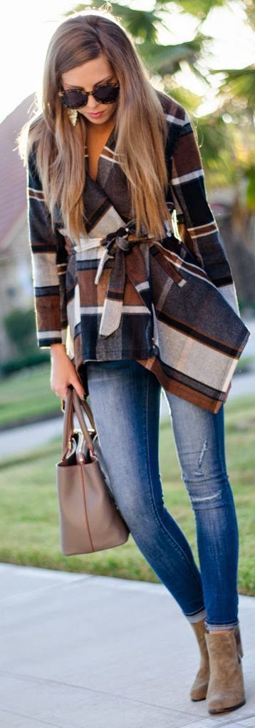 Fall Plaid Coat with Skinny Denim and Booties.