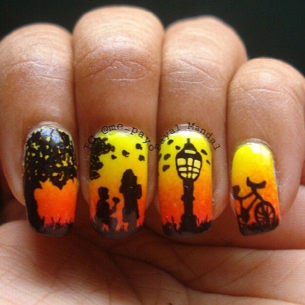 Nail art makeup: love