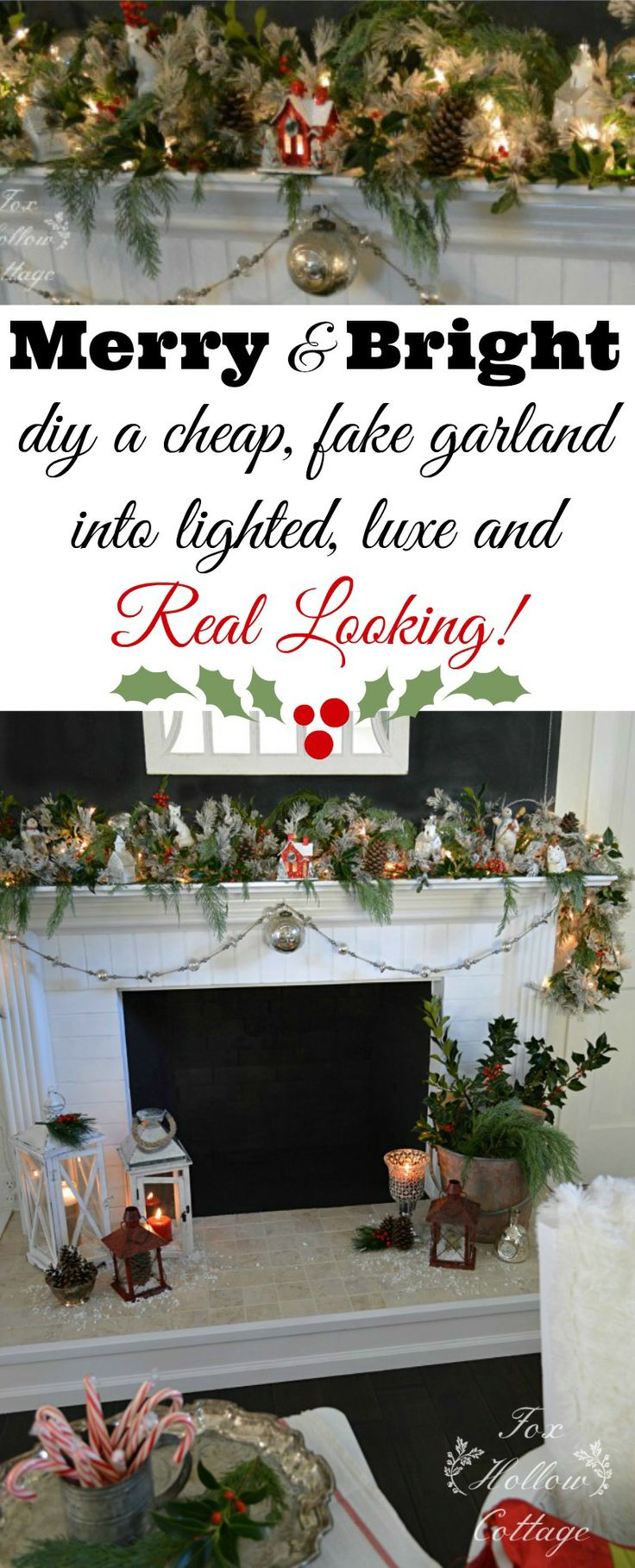 Use this tip to make your faux garland look like the real thing! Super cheap, often Free. #Christmas #tip #Christmasdecorating #ideas