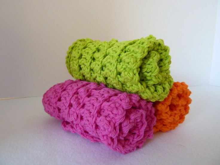 crochet washcloths with tutorial Crafty Things Pinterest