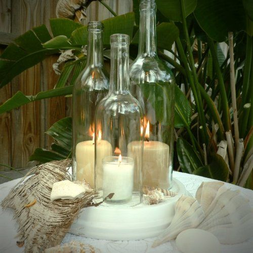 Wedding Centerpiece White Triple Wine Bottle Candle Holder